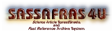 Sassafras4u: Science Article SpreadSheets And Fast Reference Archive System